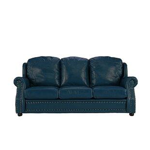 Cateline Blue Leather Sofa | Wayfair