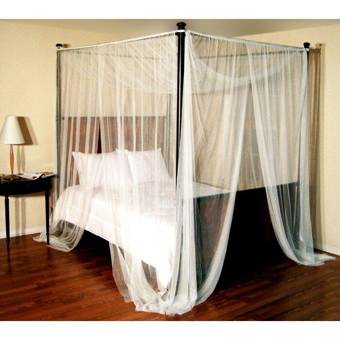 Harrelson 4-Post Bed Sheer Panel Canopy Net & Willa Arlo Interiors Harrelson 4-Post Bed Sheer Panel Canopy Net ...