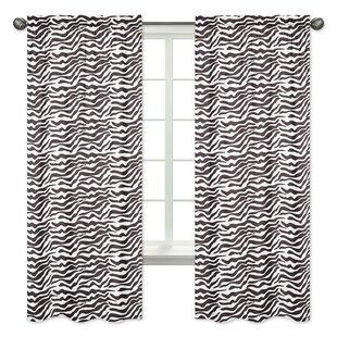 Zebra Animal Print Semi Opaque Rod Pocket Curtain Panels (Set Of 2)
