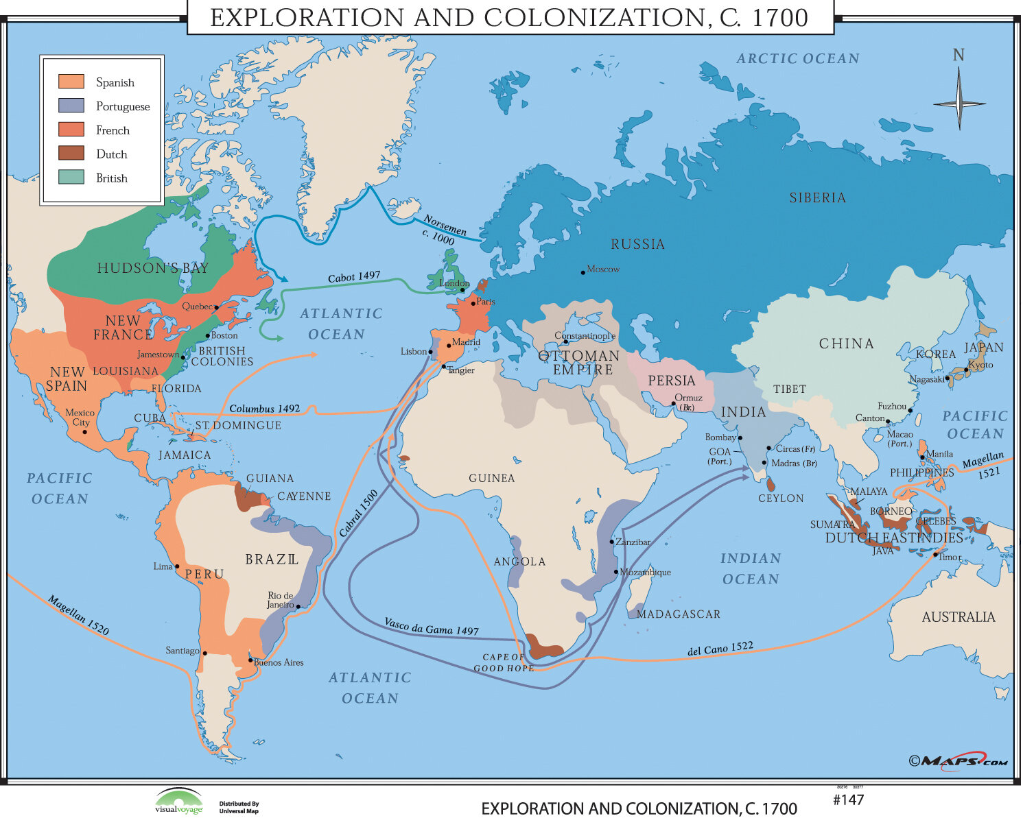 Universal Map World History Wall Maps - Exploration & Colonization ...