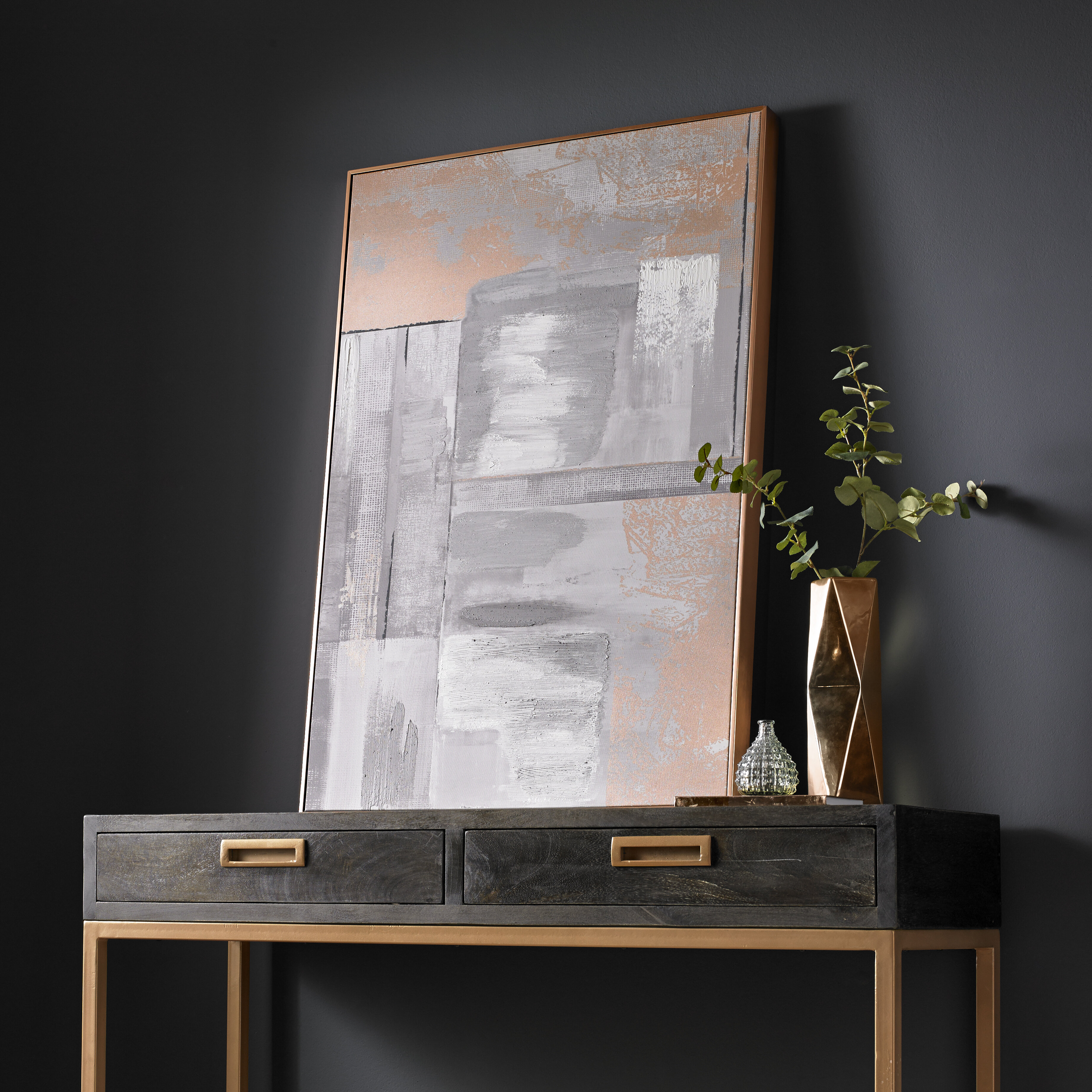 Rose Gold Glow Framed Acrylic Painting Print on Canvas