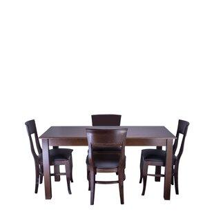 Tymon 5 Piece Solid Wood Dining Set