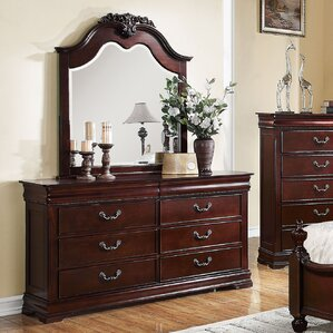 Weyer 6 Drawer Double Dresser with Mirror by Fleur De Lis Living