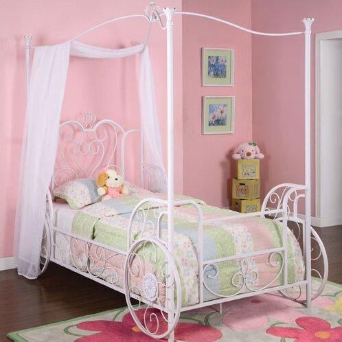 Zoomie Kids Arlo Vintage Carriage Twin Canopy Bed & Reviews | Wayfair