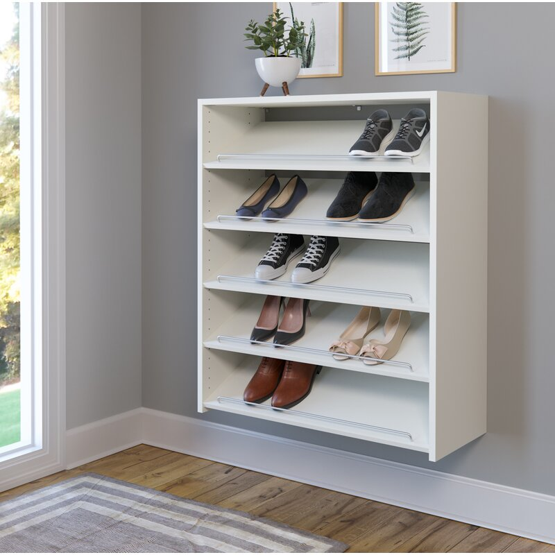 Wall Mounted 15 Pair Shoe Rack