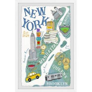 Kareem Map of New York Framed Art by Viv   Rae