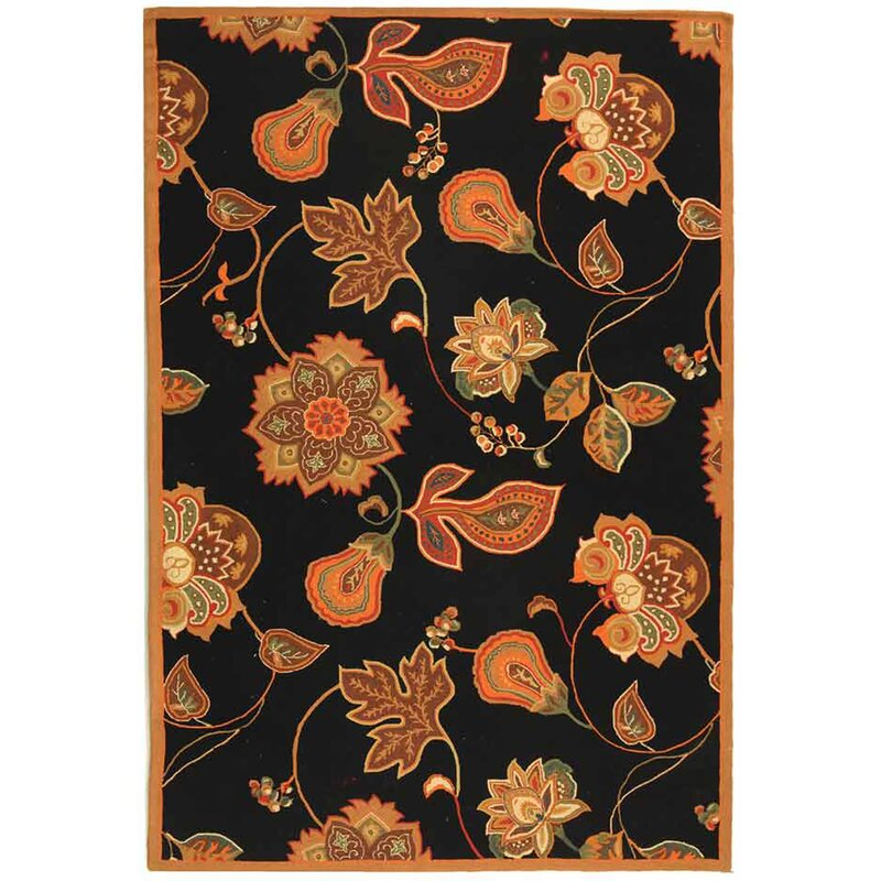 August Grove Kinchen Hand-Hooked Wool Black/Orange Area Rug, Size: Rectangle 79 x 99