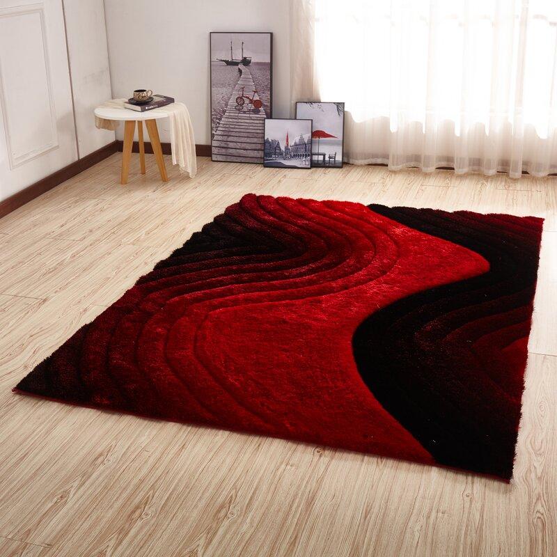 a0fffb9d16e Orren Ellis Kleiber Shaggy 3D Red Black Area Rug   Reviews