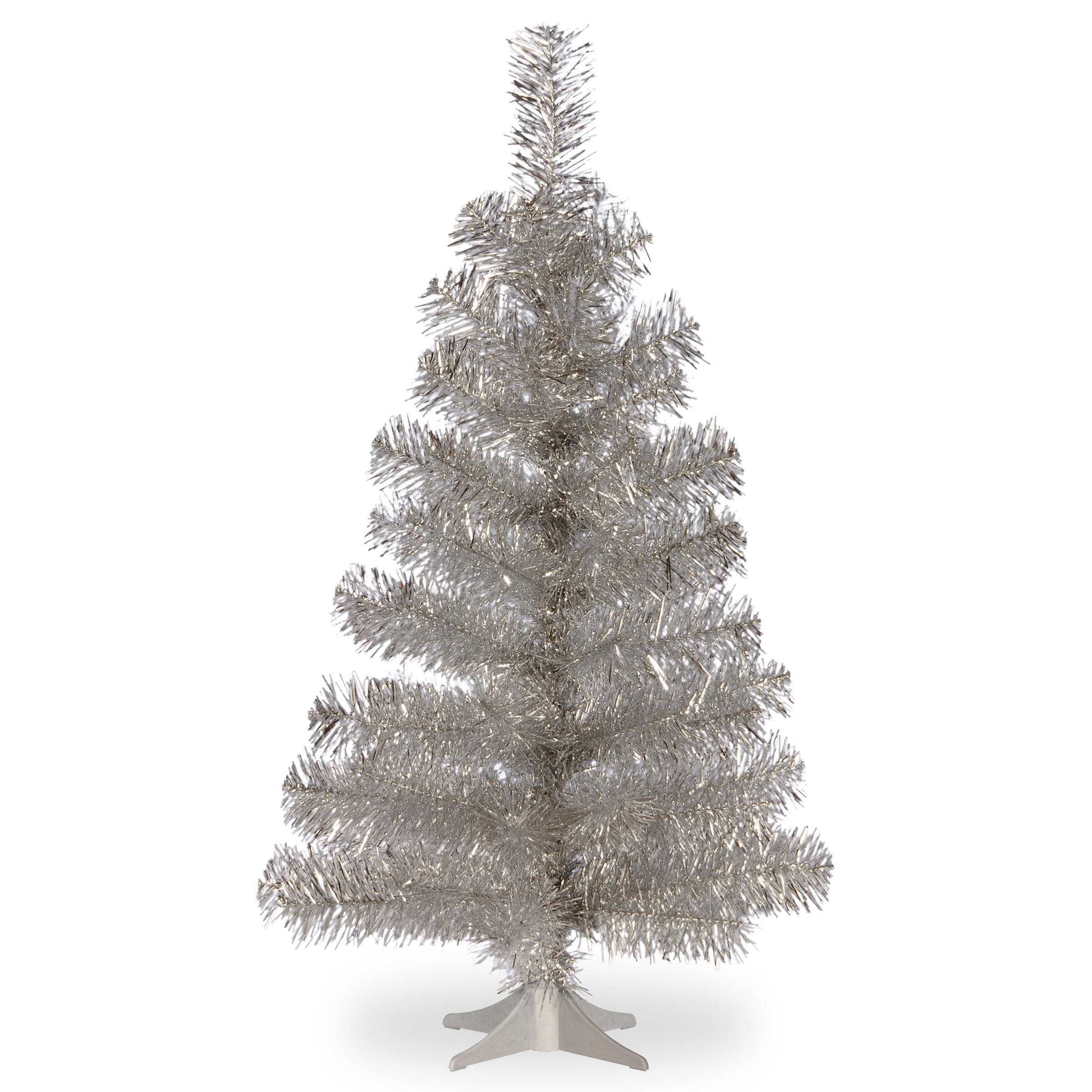 Tinsel Trees 3\' Silver Artificial Christmas Tree and Stand & Reviews ...
