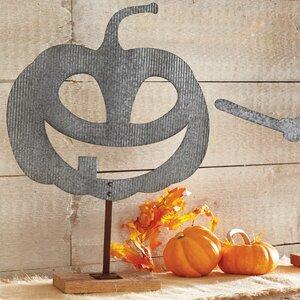 Galvanized Tin Pumpkin Sitter Du00e9cor