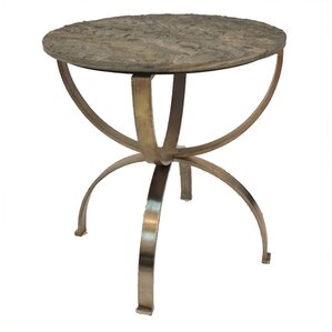 Alessandro Curved Aged Brass Round End Table..