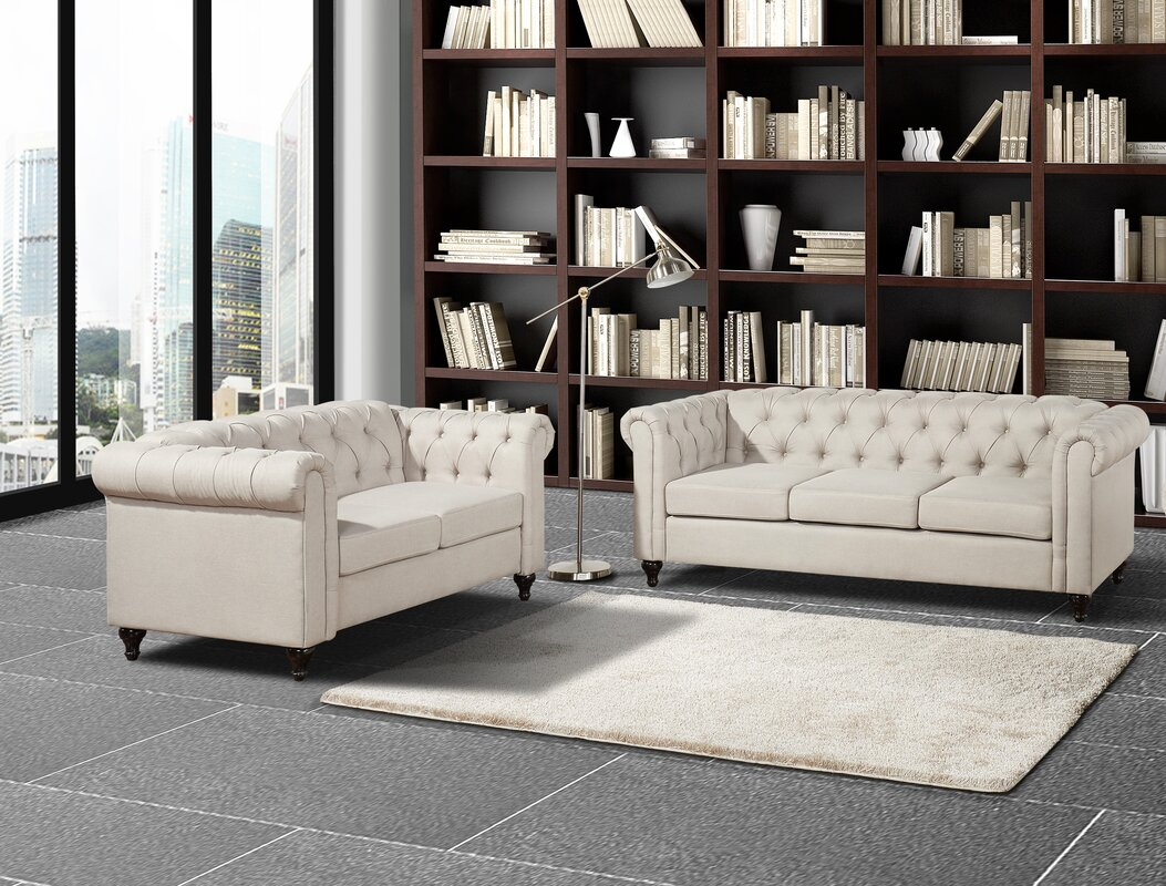 Container Chesterfield 2 Piece Living Room Set & Reviews | Wayfair