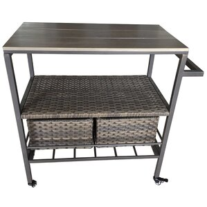 Altamont Wicker Rolling Bar Cart by Beach..