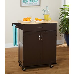 Jefferson Kitchen Cart with Wood Top by Andover Mills