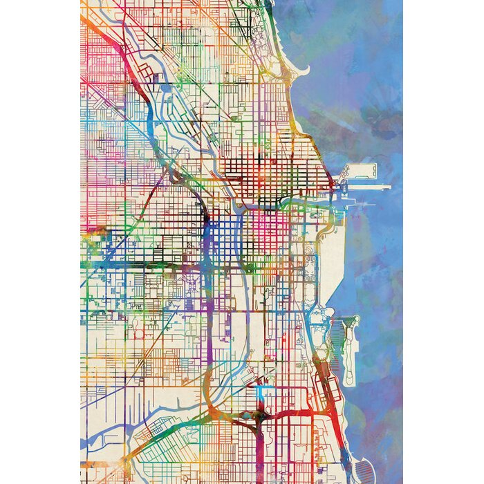 'Urban Rainbow Street Map Series: Chicago, Illinois, USA' Graphic Art on tennesse map, virgina map, vermont map, new brunswick map, mexico map, yukon territory map, d.c. map, henry county ill map, ca map, british columbia map, rhode island map, district of columbia map, pa map, nova scotia map, prince edward island map, northwest territories map, delaware map,