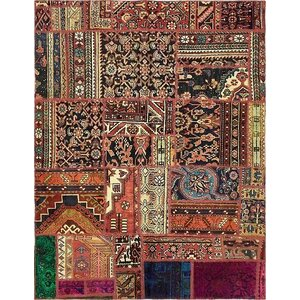 Sela Vintage Persian Hand Woven Wool Rust Red Patchwork Area Rug