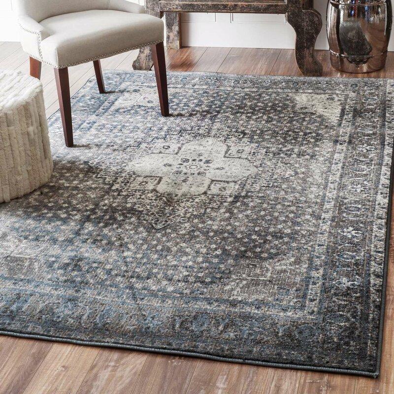Very Mistana Pascoe Blue/Grey & Silver Area Rug & Reviews | Wayfair QQ48