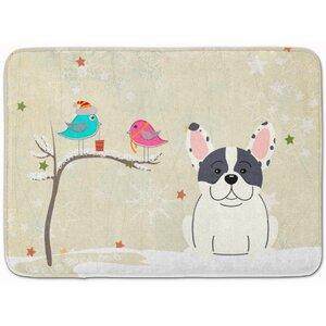 Christmas French Bulldog Piebald Memory Foam Bath Rug