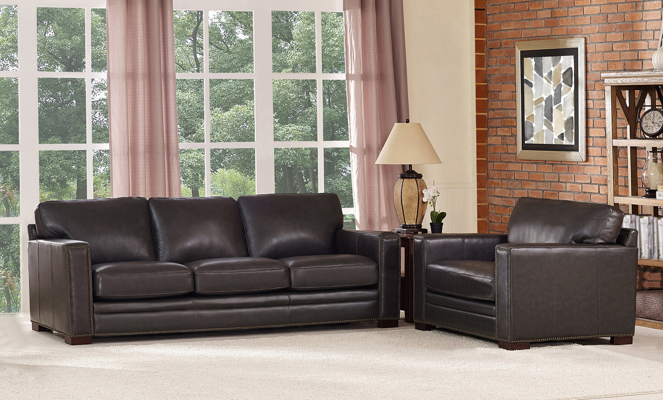 T Austin Design Neil Traditional Leather 2 Piece Living Room Set Wayfair