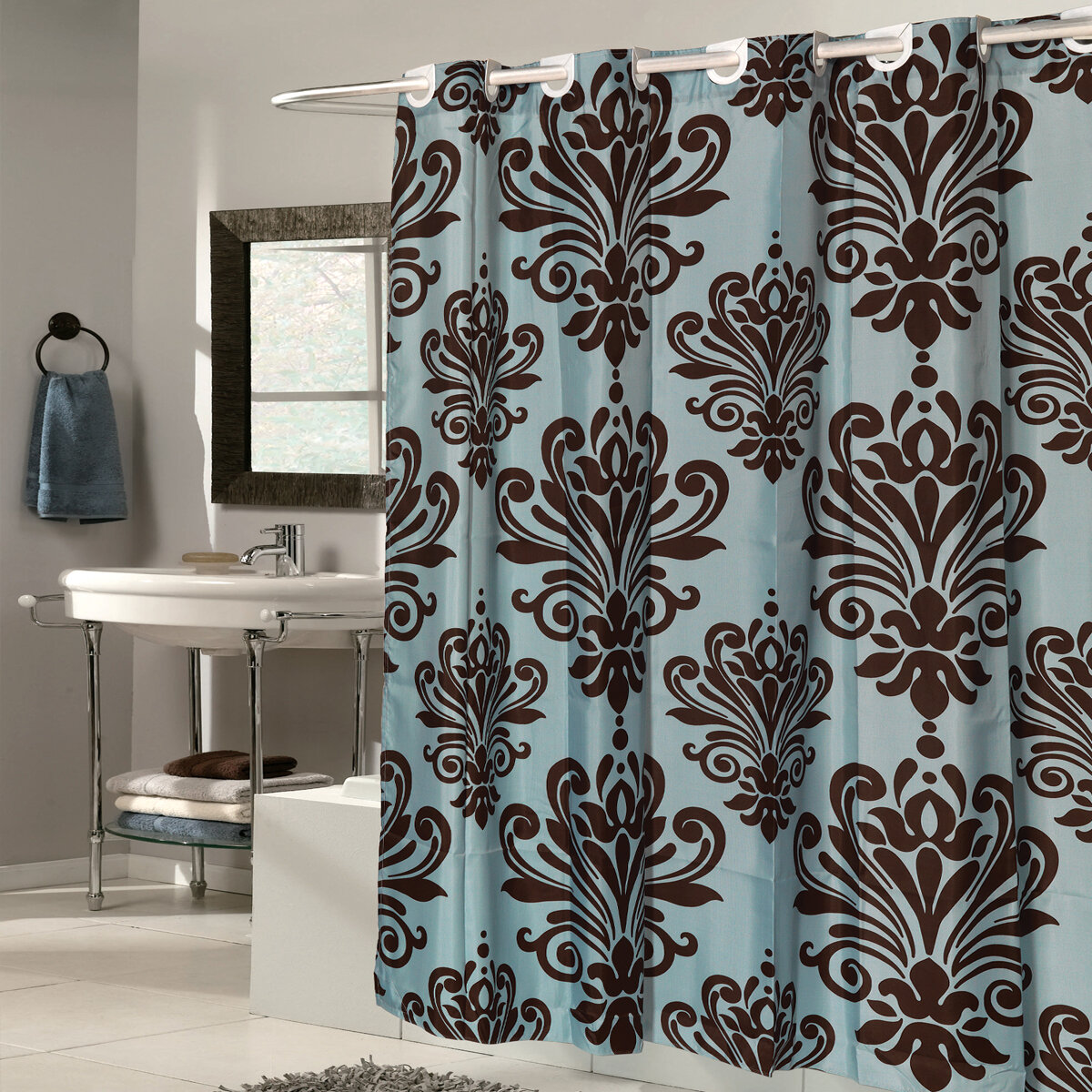 Sweet Home Collection Fleur De Lis Fabric Shower Curtain Reviews