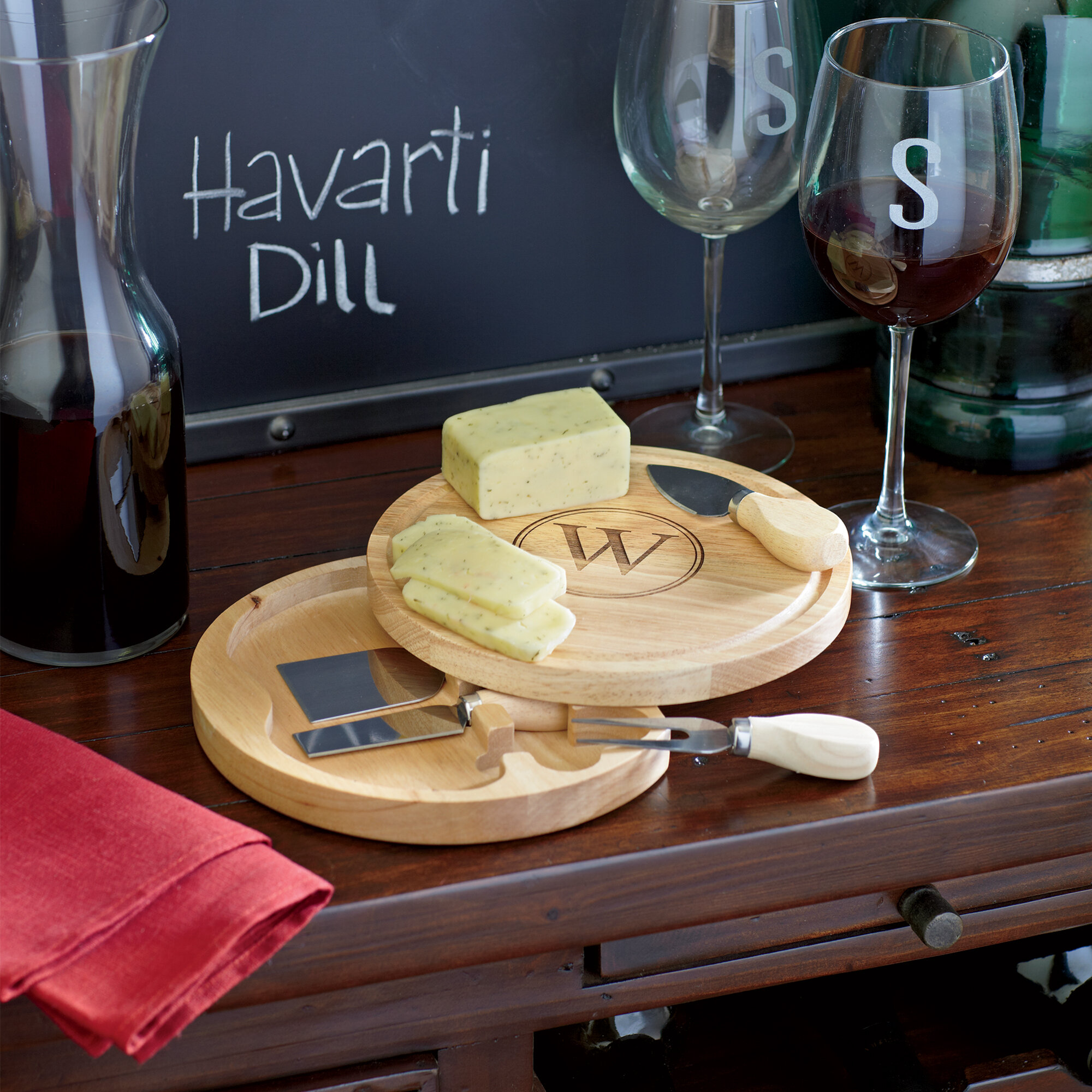 Cathys Concepts Aiken Monogrammed 5 Piece Cheese Board Set U0026 Reviews |  Wayfair