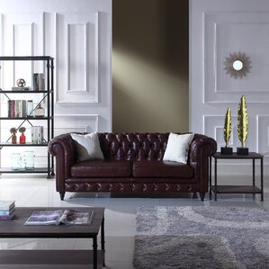Darby Home Co Kacper Leather Chesterfield Sofa Image