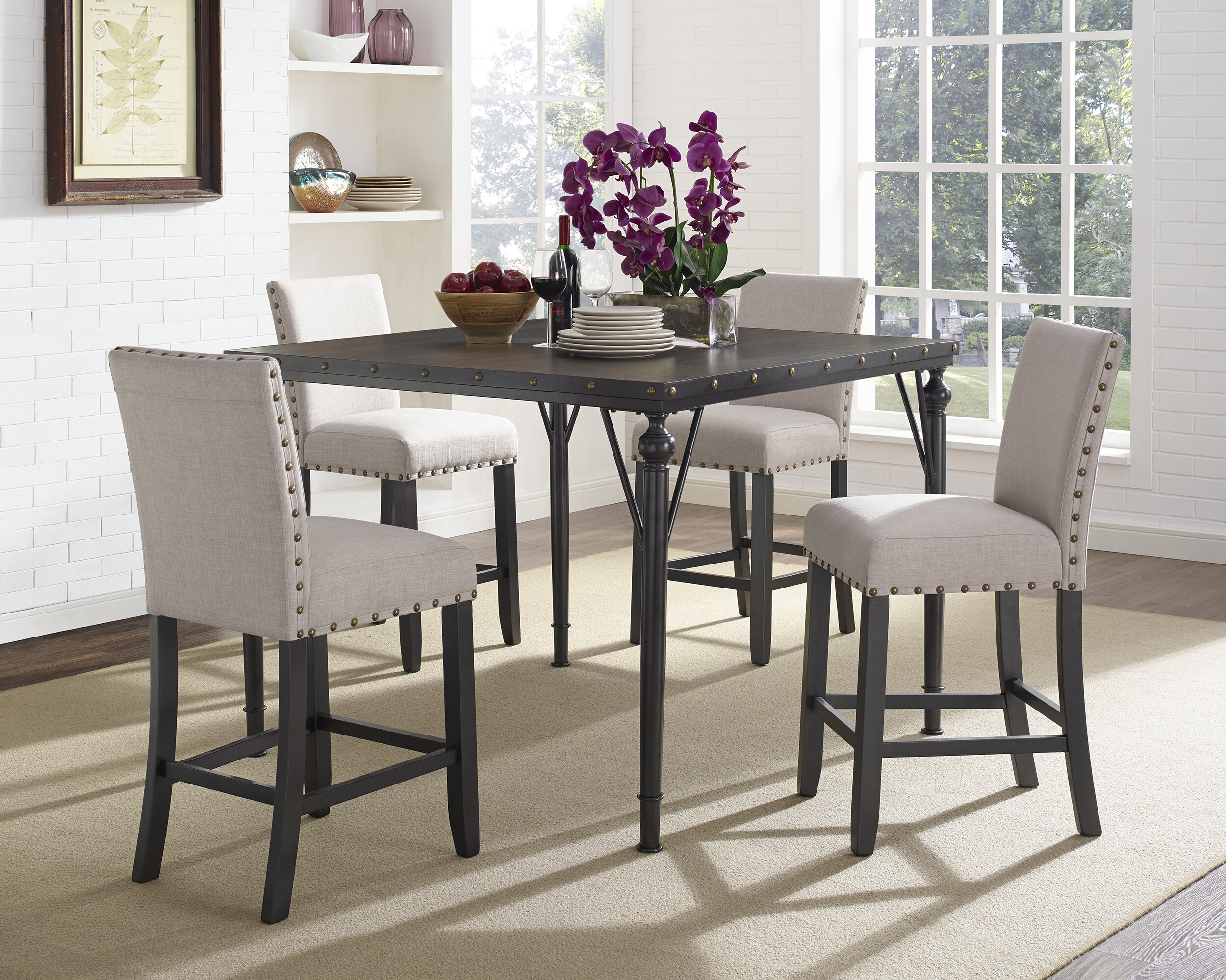 Greyleigh Haysi Wood Counter Height 5 Piece Dining Set With Fabric Nailhead Chairs Reviews