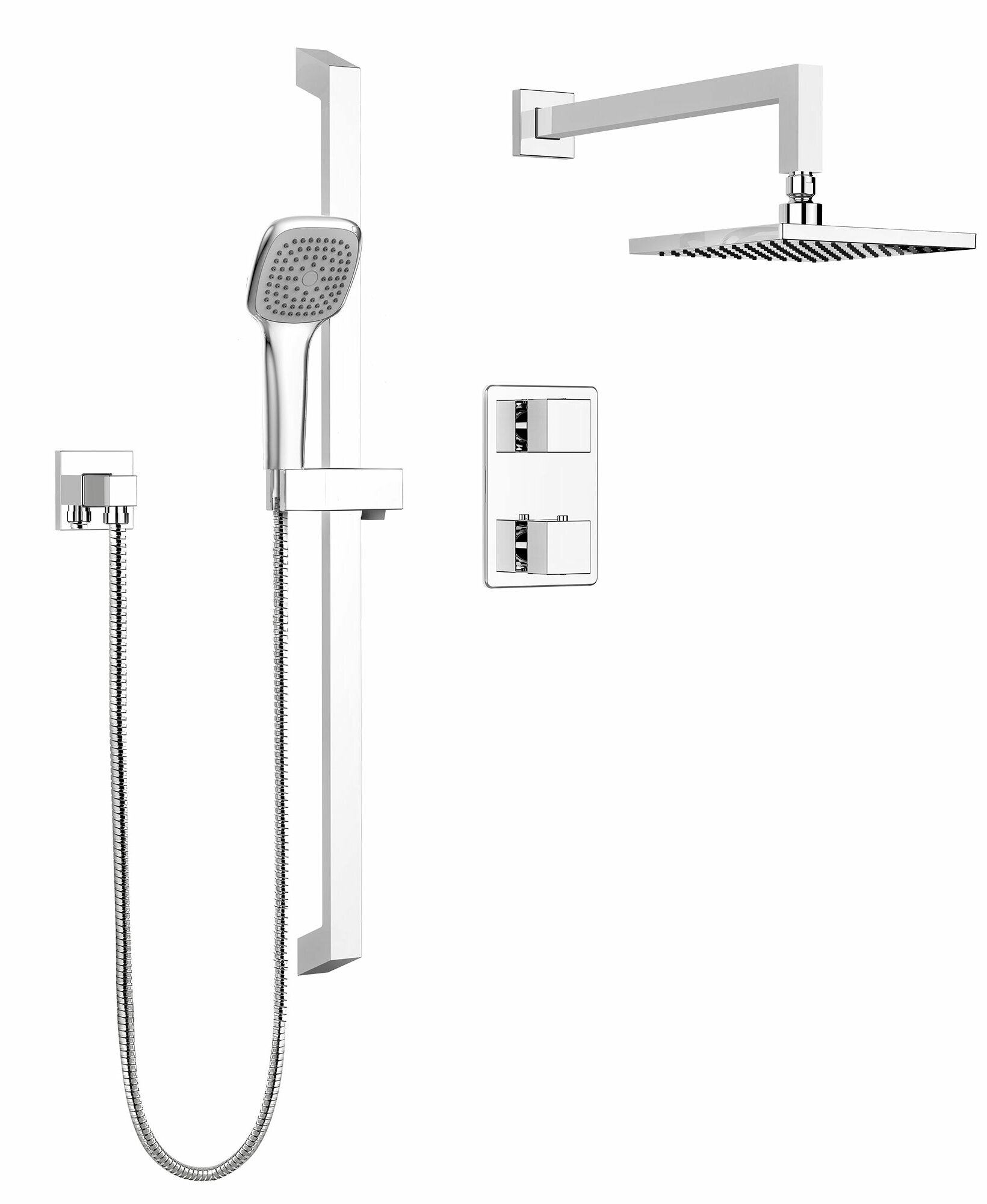Keeney Manufacturing Company Stylish Square Faucet Dual Function Dual Shower  Head Complete Shower System U0026 Reviews | Wayfair