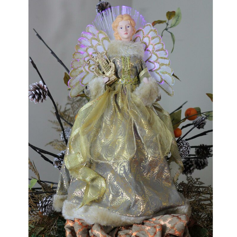 Angel Christmas Tree Topper In Metallic Gown
