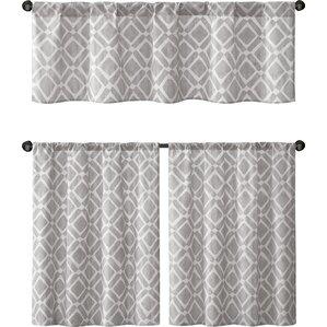 iris print curtain tier