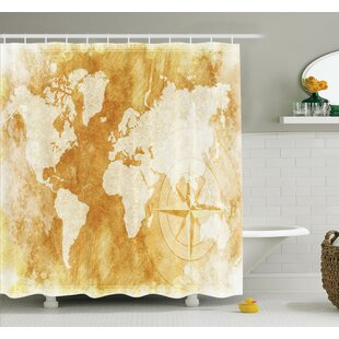 old fashioned world map shower curtain set