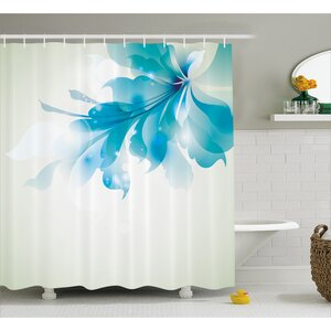 Celestiel Blue Ombre Flowers Shower Curtain