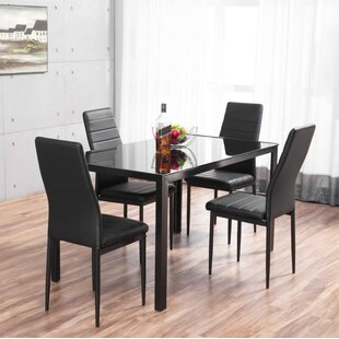 Rabin Glass Dining Set with 4 Chairs & 4 Seater Dining Table Sets | Wayfair.co.uk