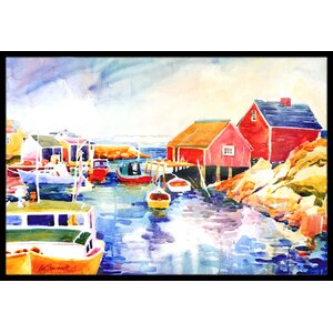 Boats at Harbour with a View Doormat