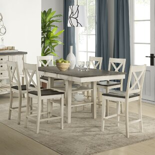 Ridgley 7 Piece Extendable Solid Wood Pub Table Set