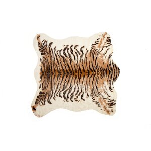 Natural Tiger Multi-Colored Cowhide Area Rug