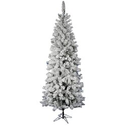 Vickerman Flocked Pacific Pine 7.5' White Artificial Pencil ...