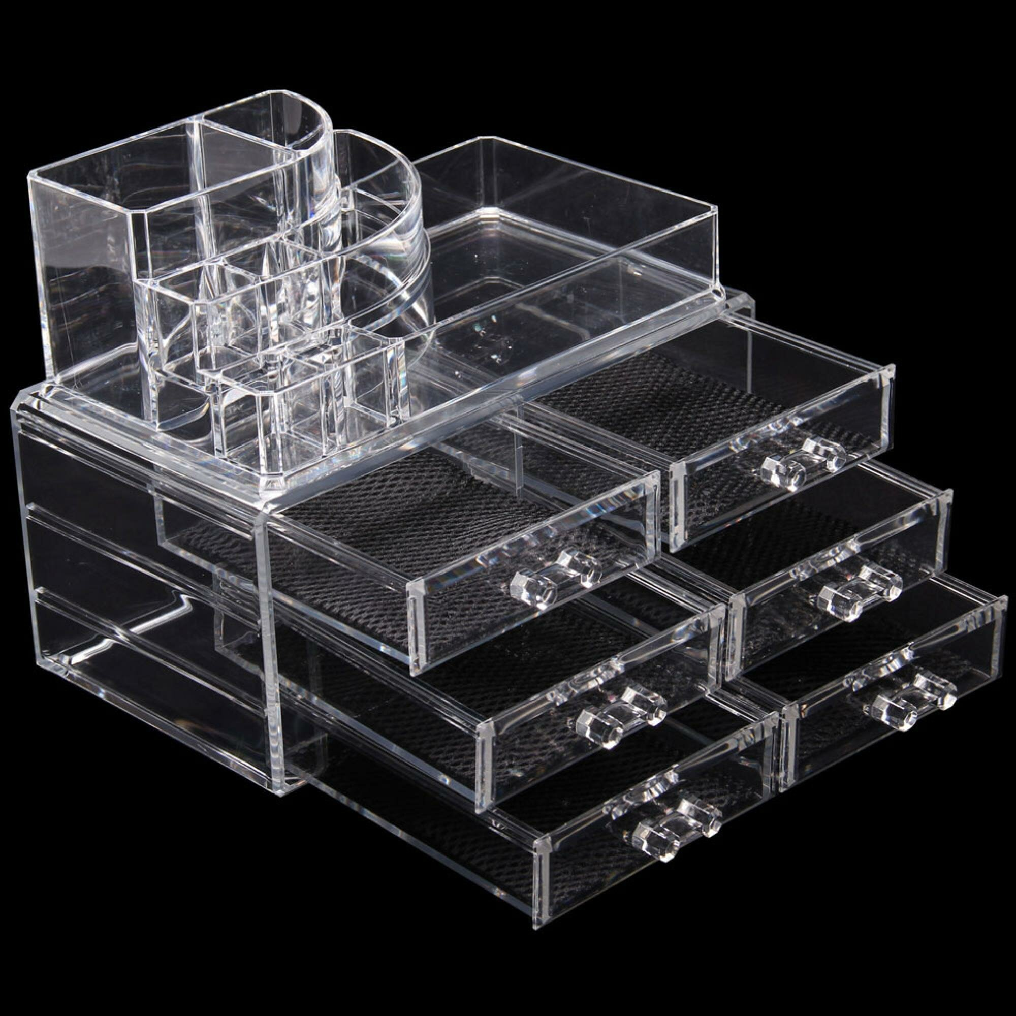 Rebrilliant Multi-Check and 6 Drawers Integrated Acrylic Makeup Organizer   Wayfair