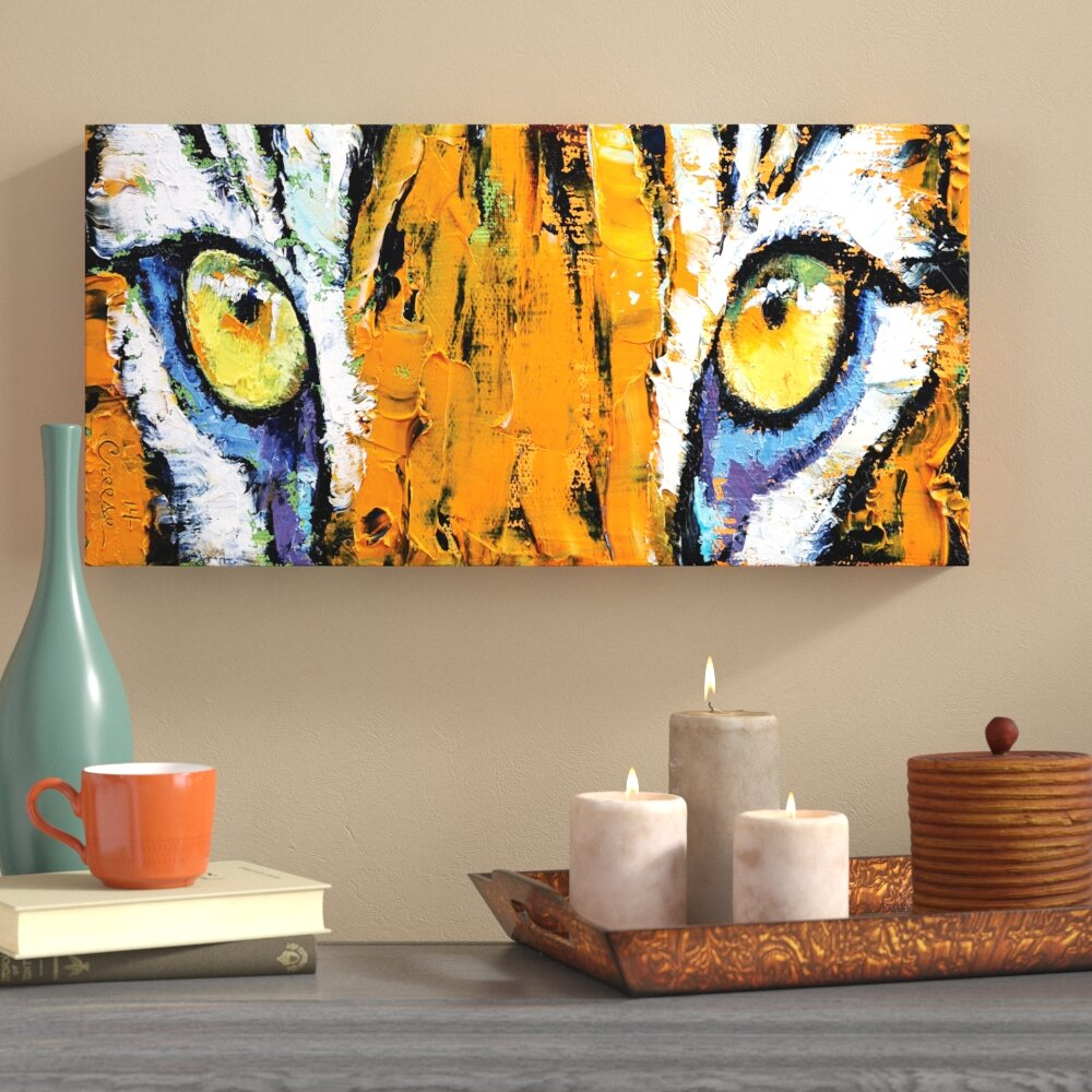 World menagerie tiger eyes painting print on wrapped canvas wayfair ca