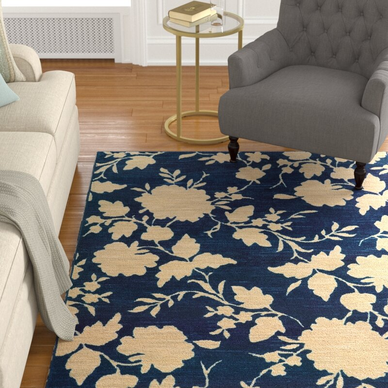 Alcott Hill Alicia Blue/Beige Area Rug, Size: Rectangle 710 x 1010