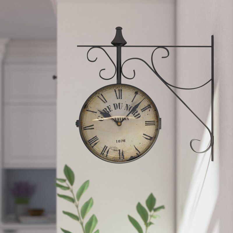 9 4 Round Double Sided Hanging Wall Clock