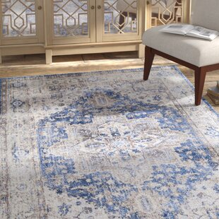Great Price Monty Blue/White Area Rug By Bungalow Rose
