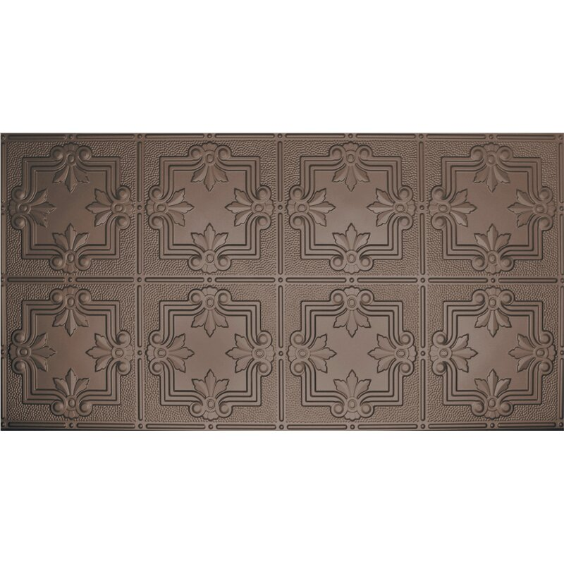 Global Specialty Products Glue Up Fleur De Lis Pattern 2 X 4 Tin Ceiling Tile In Bronze Wayfair