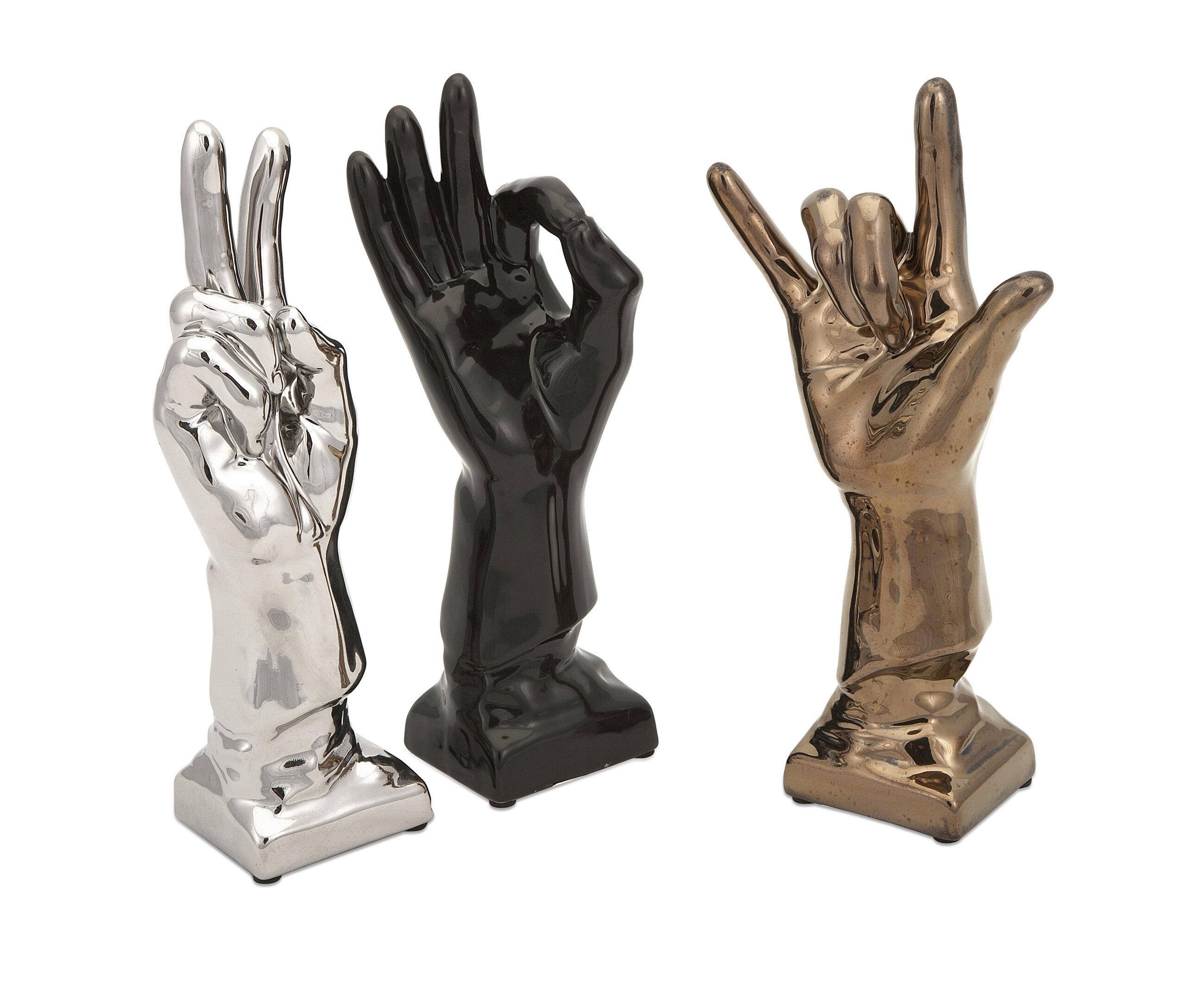 Ivy bronx clayborn unique ceramic hands 3 piece sculpture set wayfair