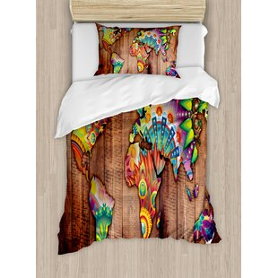 World map bedding wayfair bohemian world map on wooden rustic planks background creative abstract countries print duvet set gumiabroncs Image collections