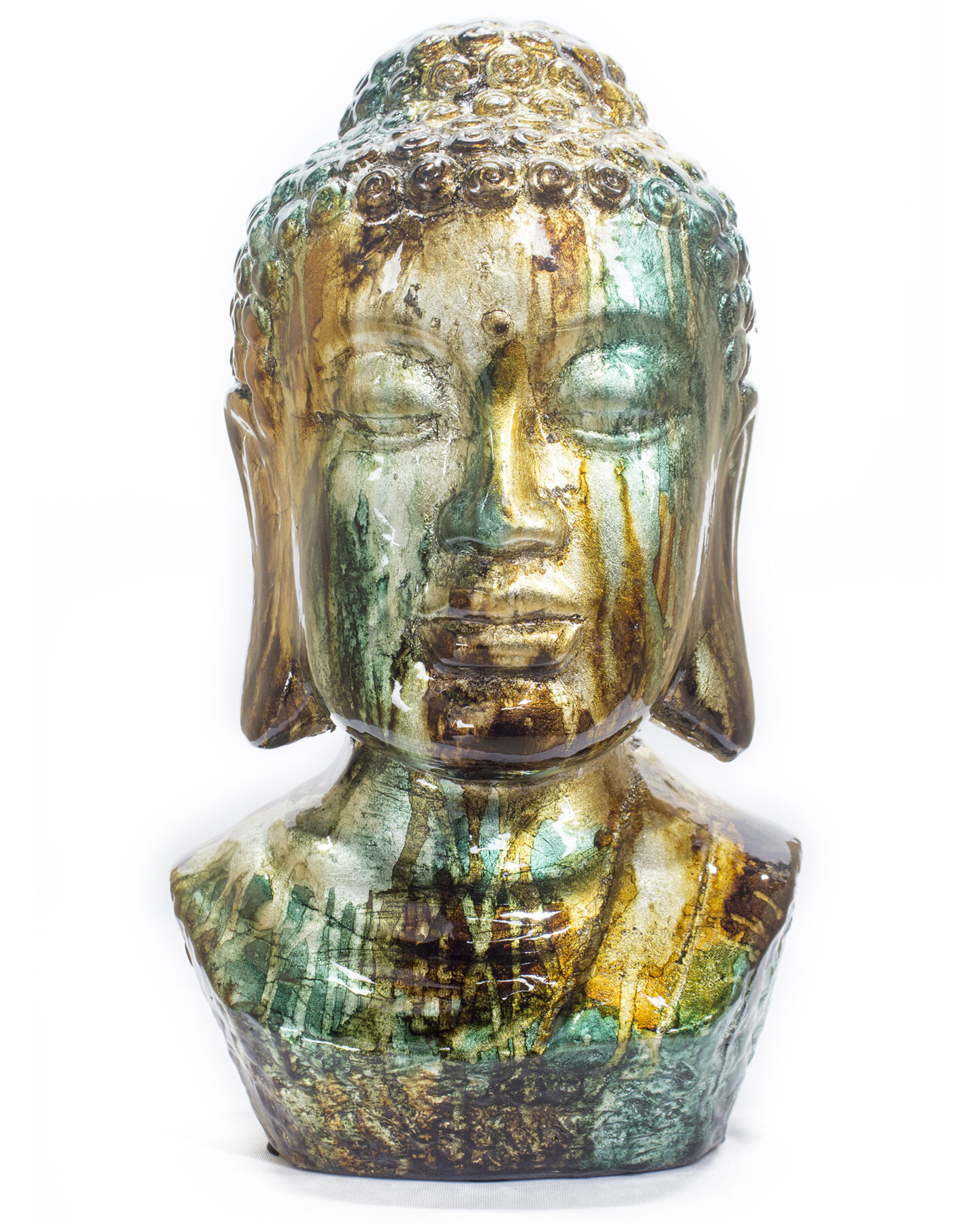 Camdenton Foiled And Lacquered Buddha Head Decorative Sculpture