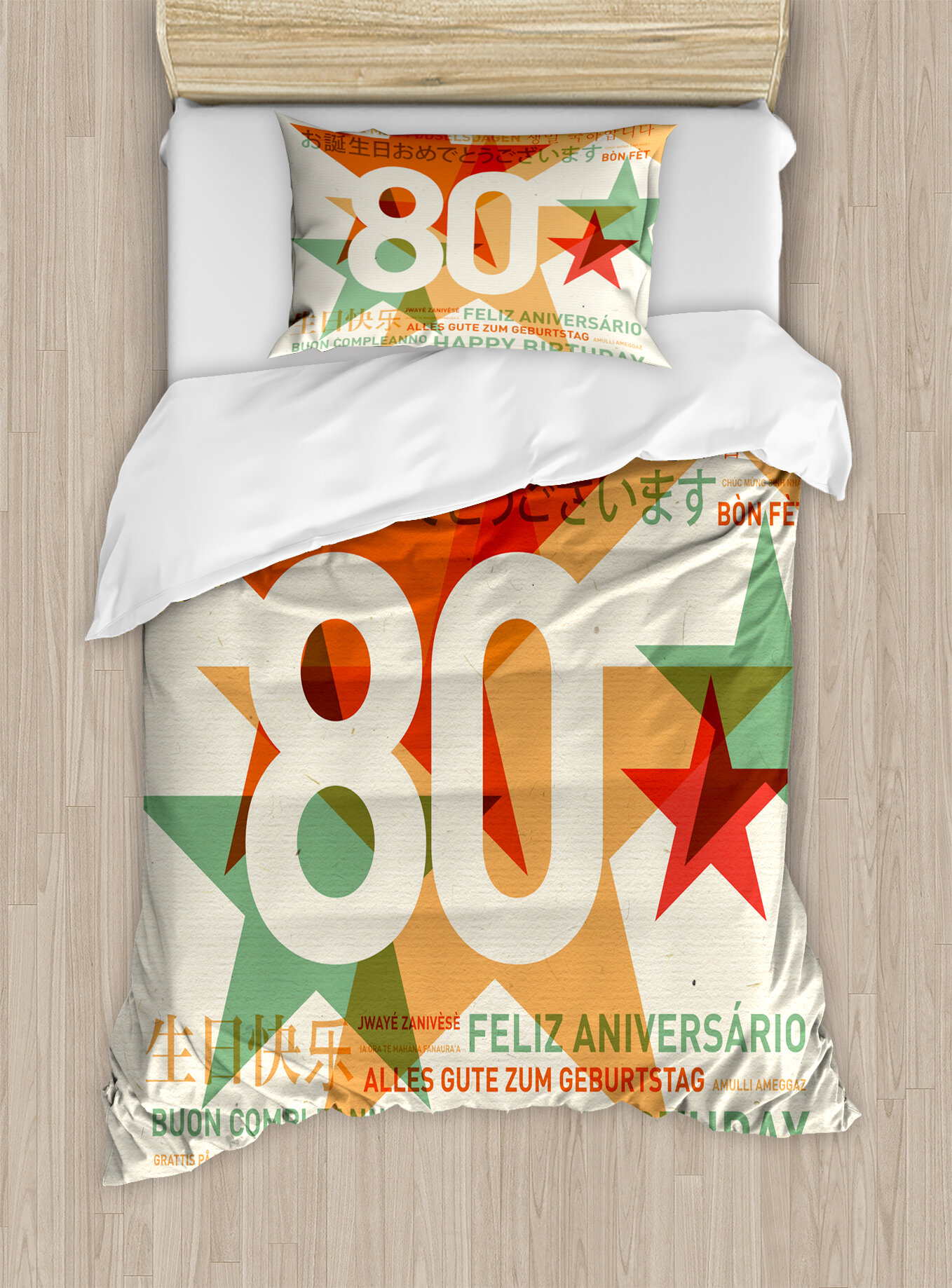 Ambesonne 80th Birthday Decorations 80 Years Party With Universal Happy Wish Duvet Cover Set