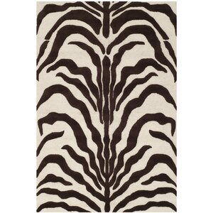 Roloff Hand-Tufted Wool Ivory/Brown Area Rug