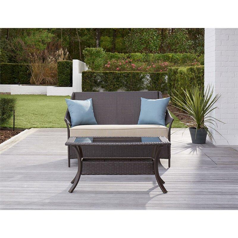 Greyleigh Ismay 2 Piece Rattan Sofa Set With Cushions Reviews Wayfair