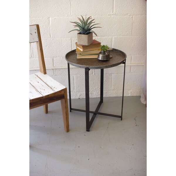 17 Stories Ciara Recycled Round Metal Tray Table | Wayfair